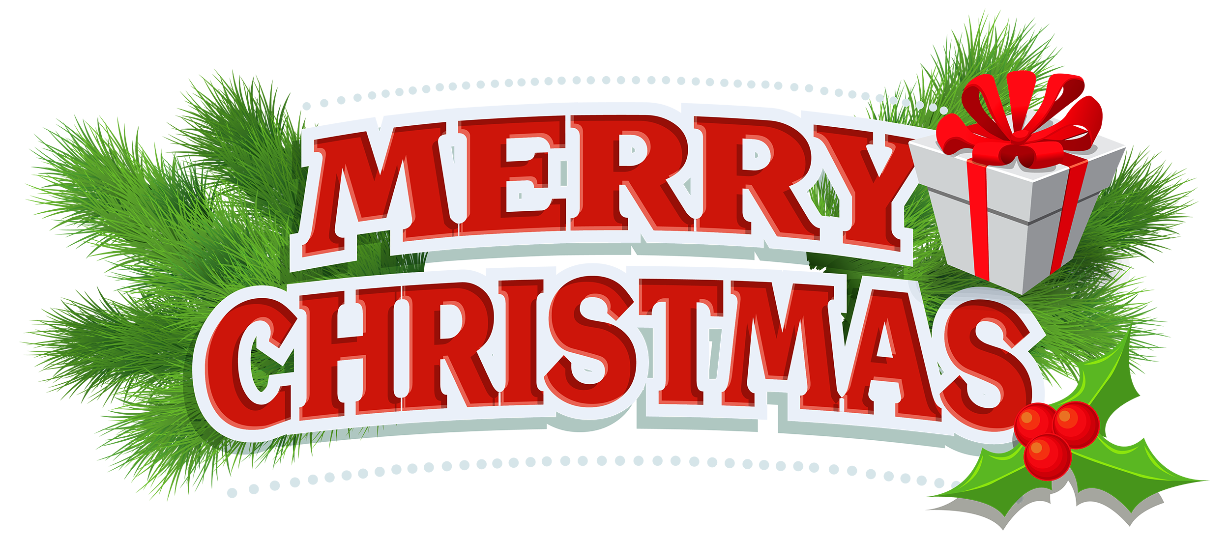 Merry Christmas Decor with Gift PNG Clipart.