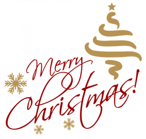 Merry Christmas Gold Red Text transparent PNG.
