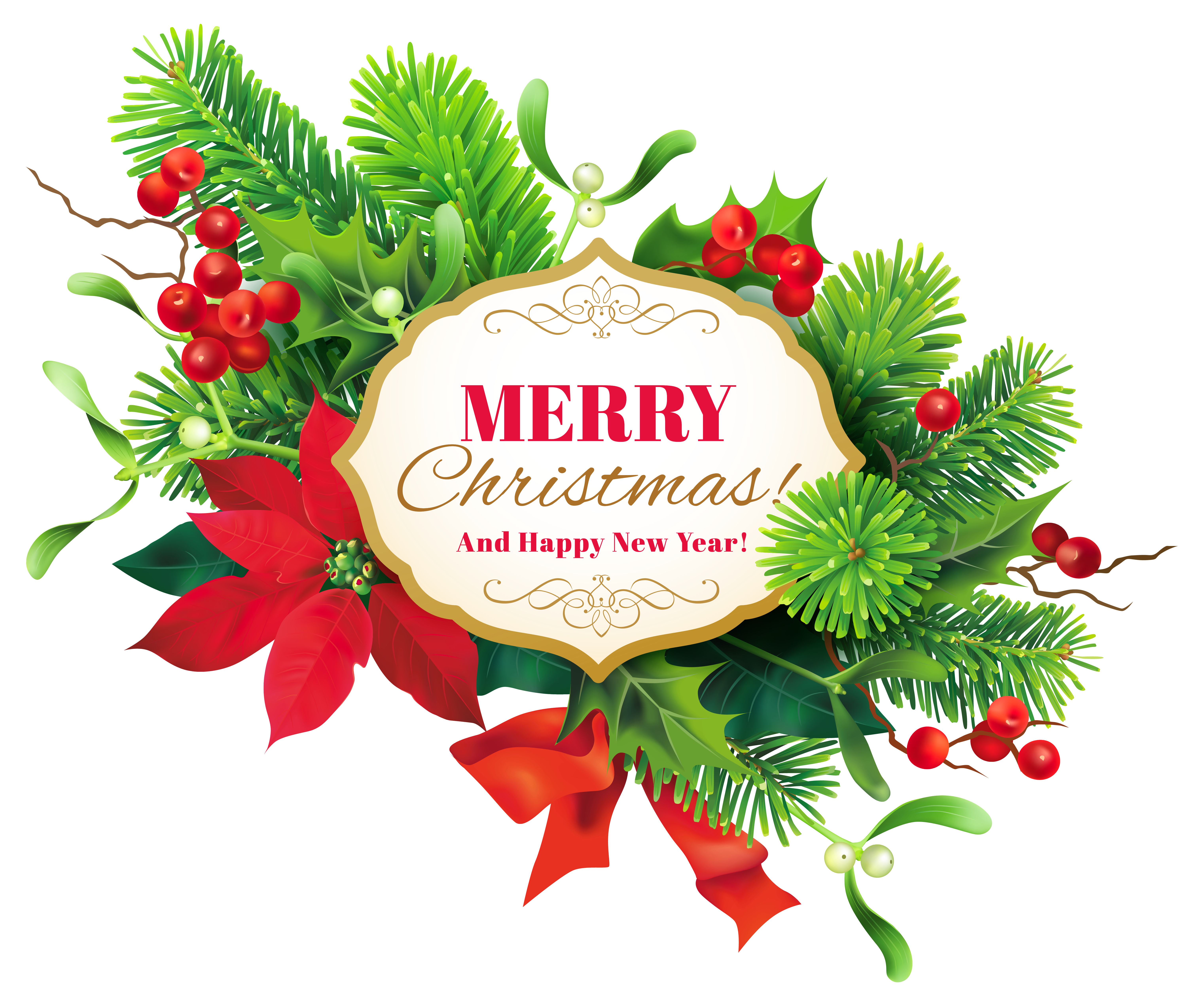 Merry Christmas Decor PNG Clipart Image.