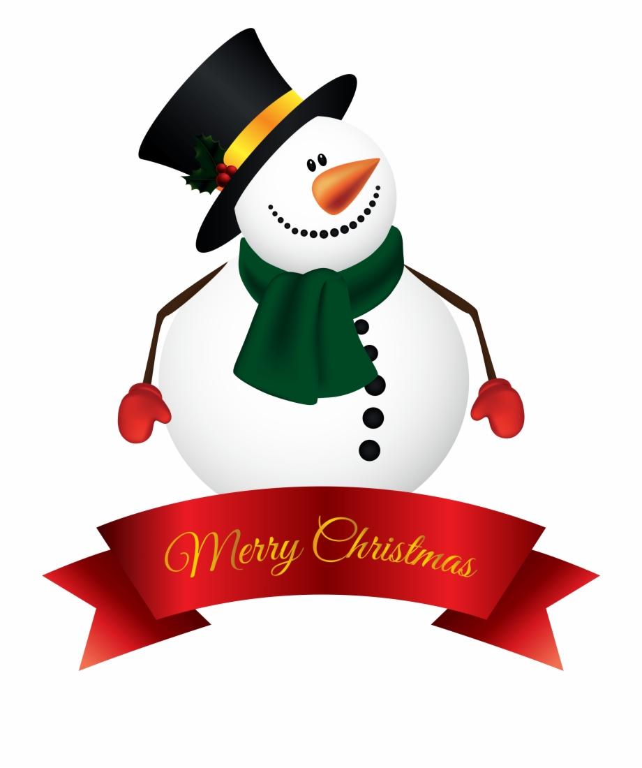 Snowman Banner Png Clipart Image.