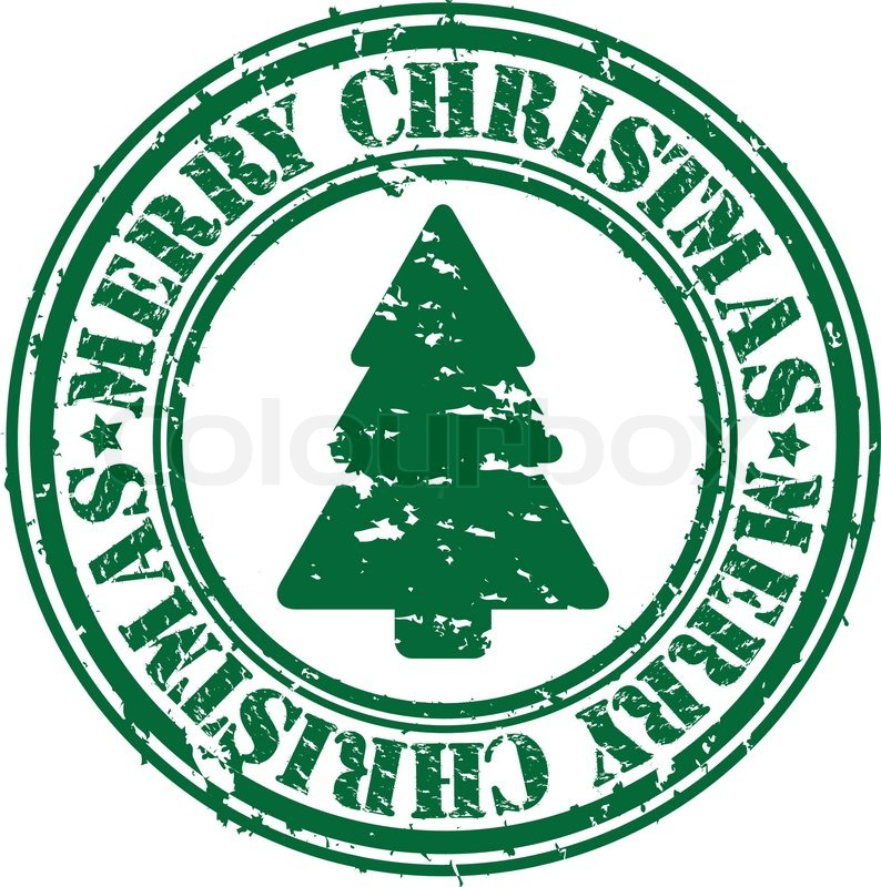 Grunge merry christmas rubber stamp,.