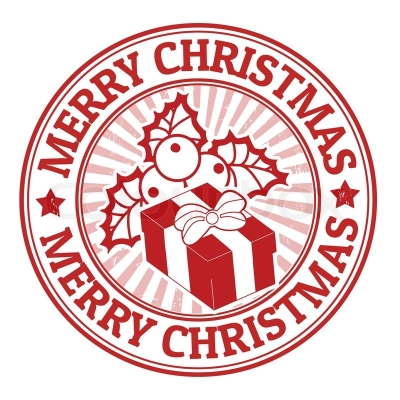 Merry Christmas stamp PNG.