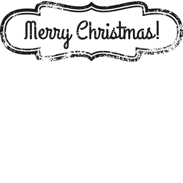 Merry Christmas Badge Rubber Stamp.