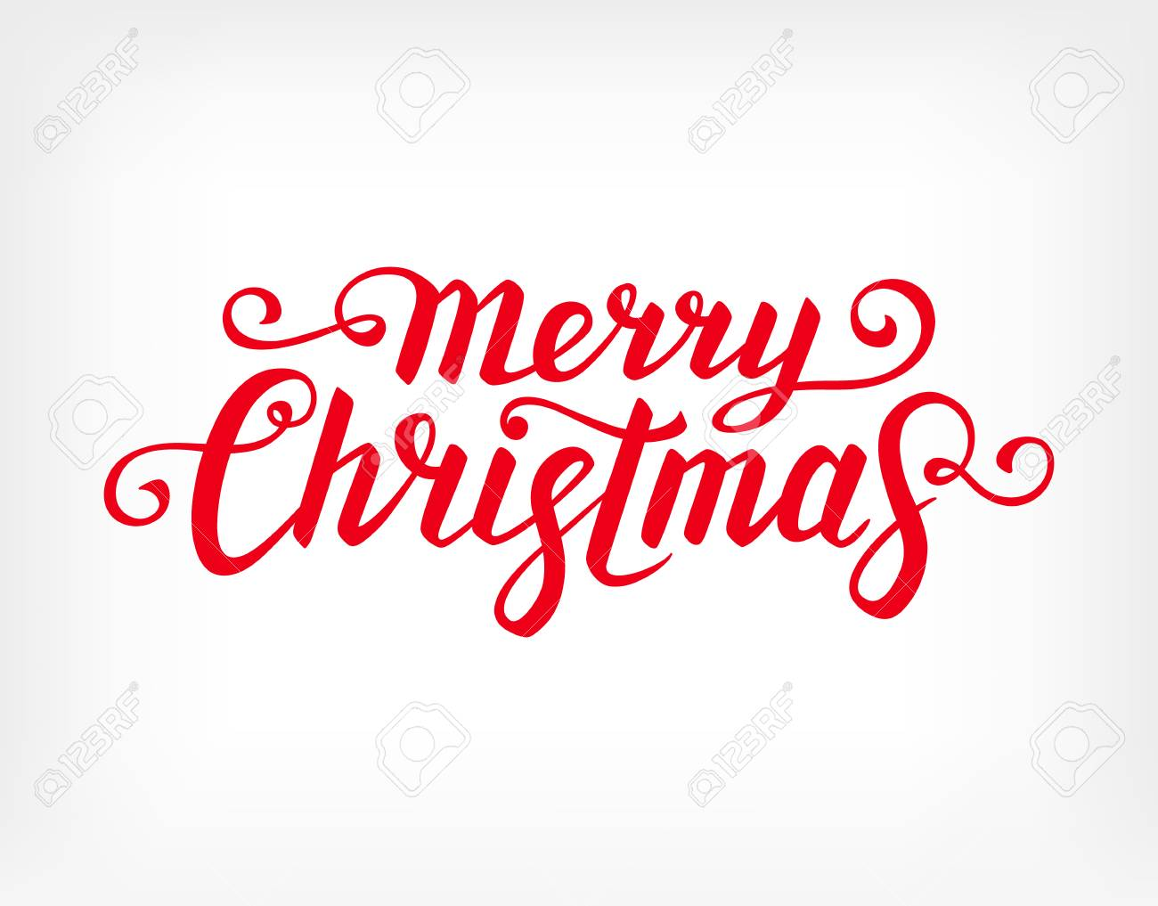 Merry Christmas text. Calligraphic Lettering. Greeting card template.