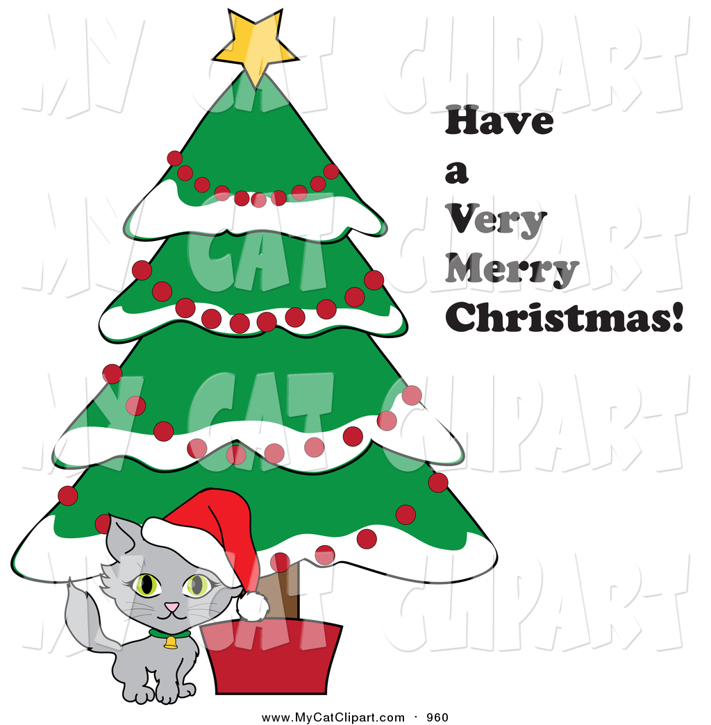 Clip Art of Have a Very Merry Christmas Text by a Kitten Under a.