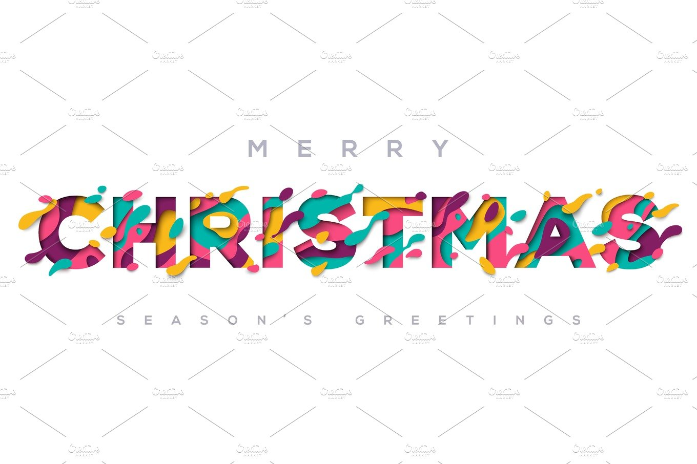 Merry Christmas typography on white background.