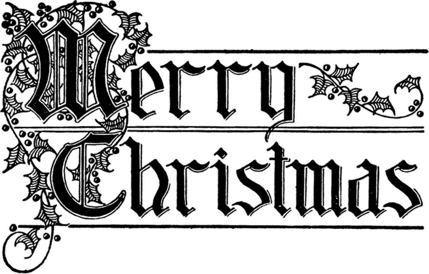 merry christmas logo black and white.