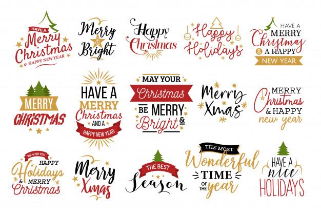 Christmas typography set Vector.
