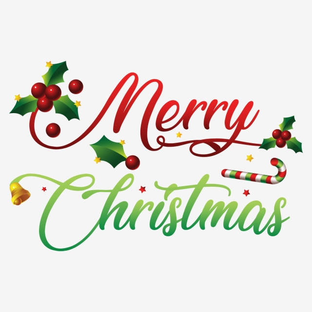 Creative Merry Christmas Typography With Leaves Berries And.
