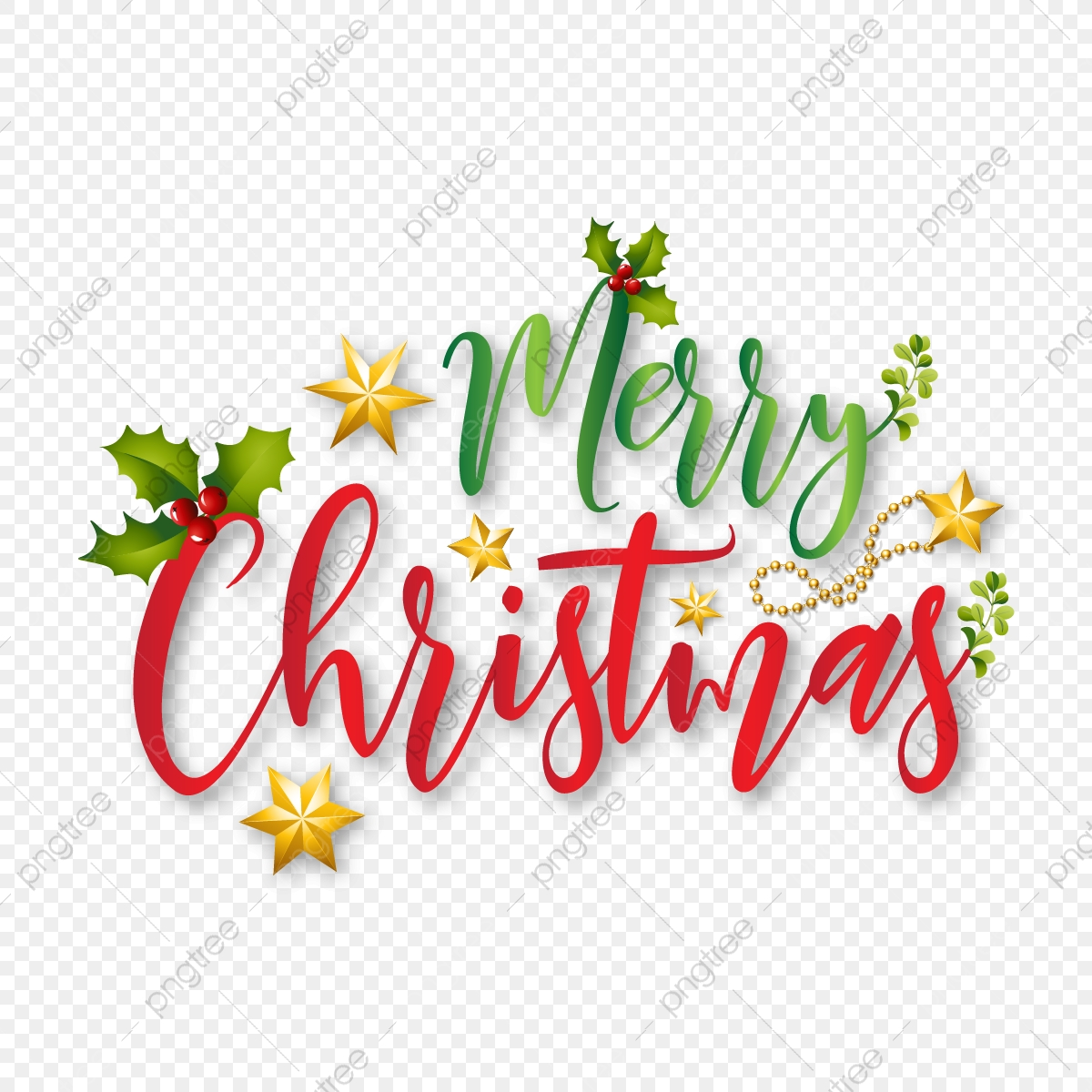 Merry Christmas Typography With Xmas Elements Vector.