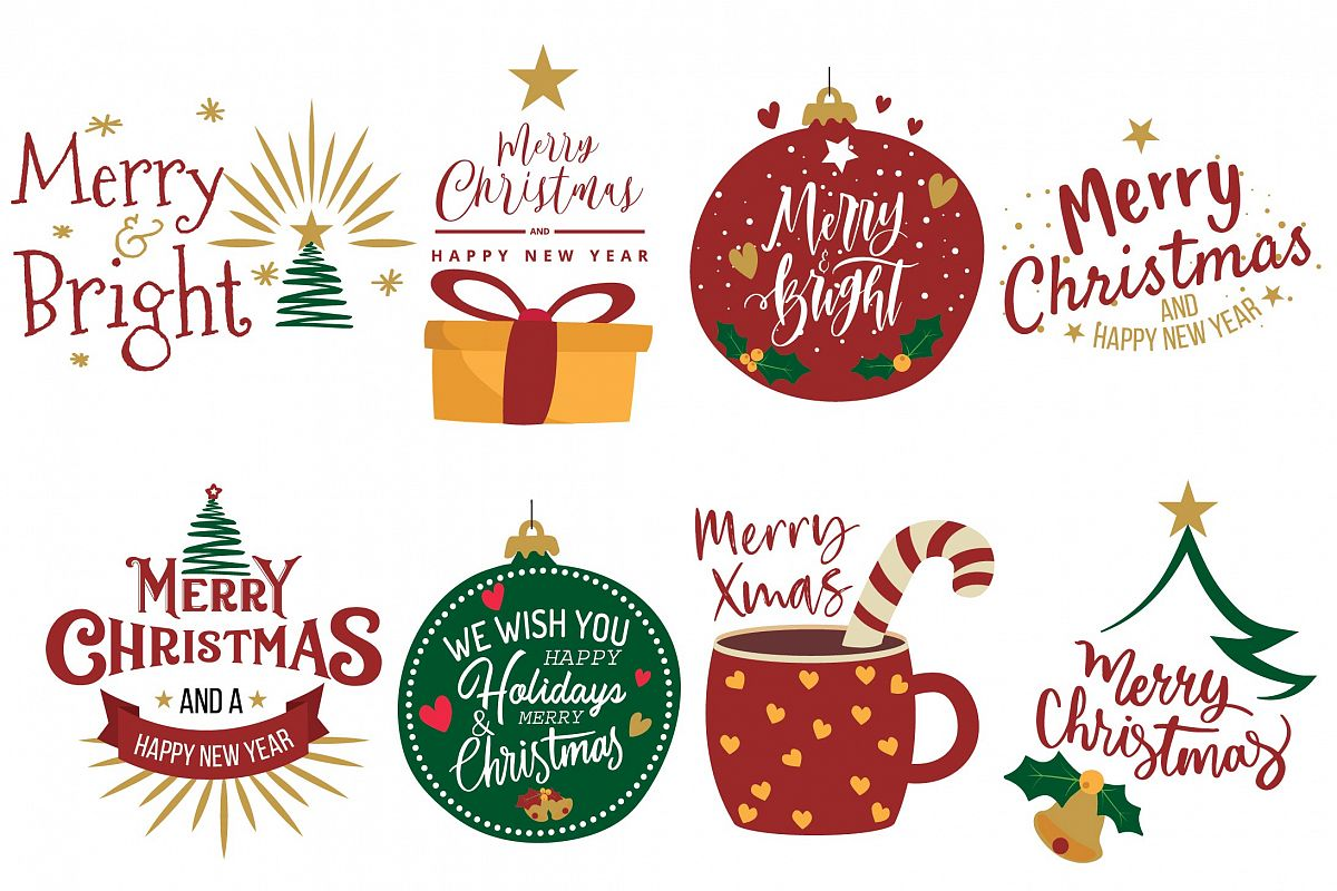 Merry Christmas greeting cards clip art. Christmas decor png.