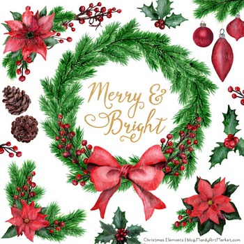 Merry & Bright Watercolor Christmas Wreath Clipart.