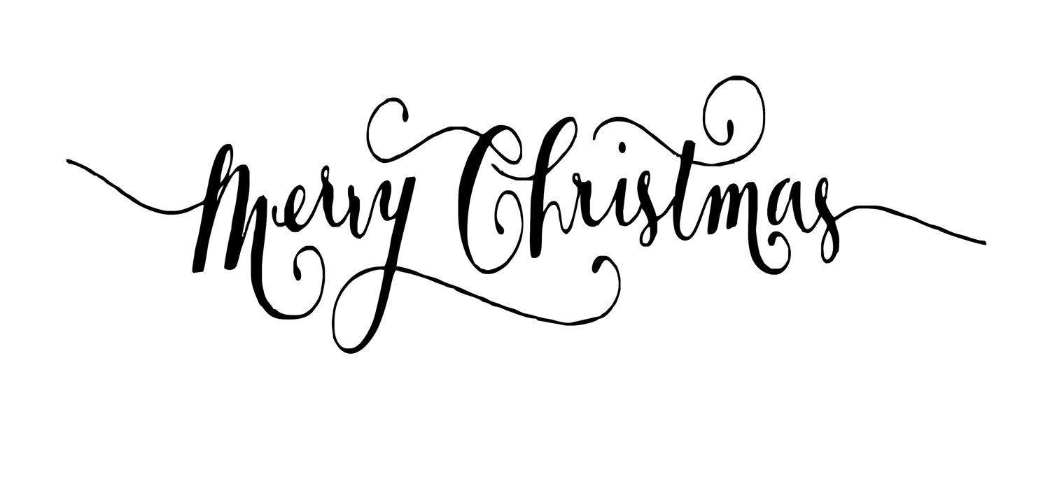Black and White Merry Christmas Font.
