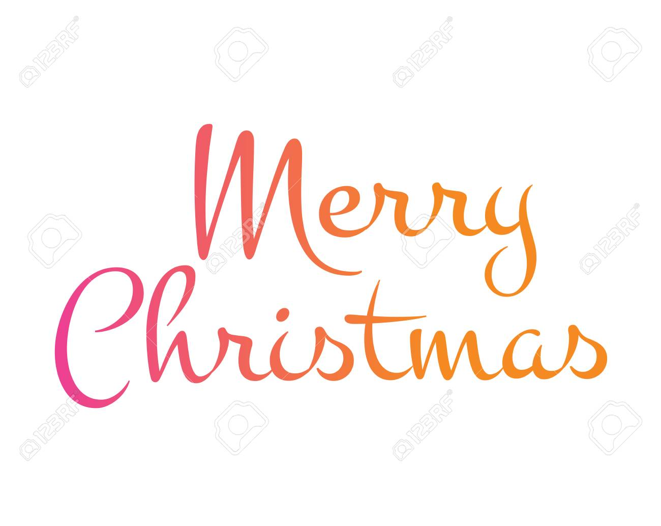 The Gradient isolated hand writing word Merry Christmas..