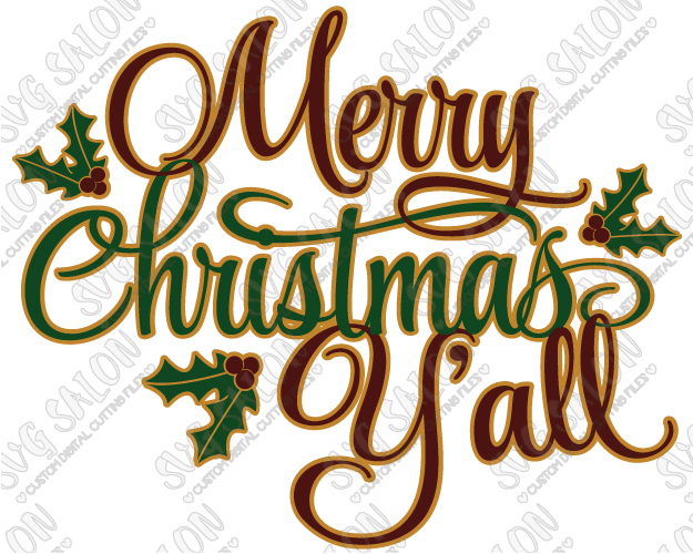 Merry Christmas Y'all Cut File in SVG, EPS, DXF, JPEG, and PNG.