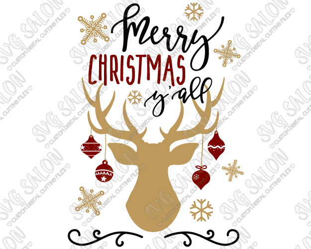 Merry Christmas Y'all Antlers Cut File in SVG, EPS, DXF, JPEG, and PNG.