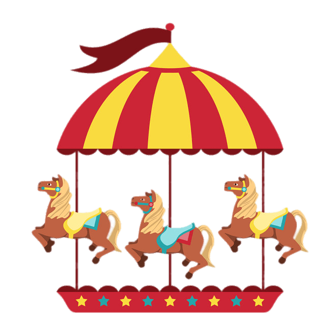 Merry Go Round With Three Horses transparent PNG.