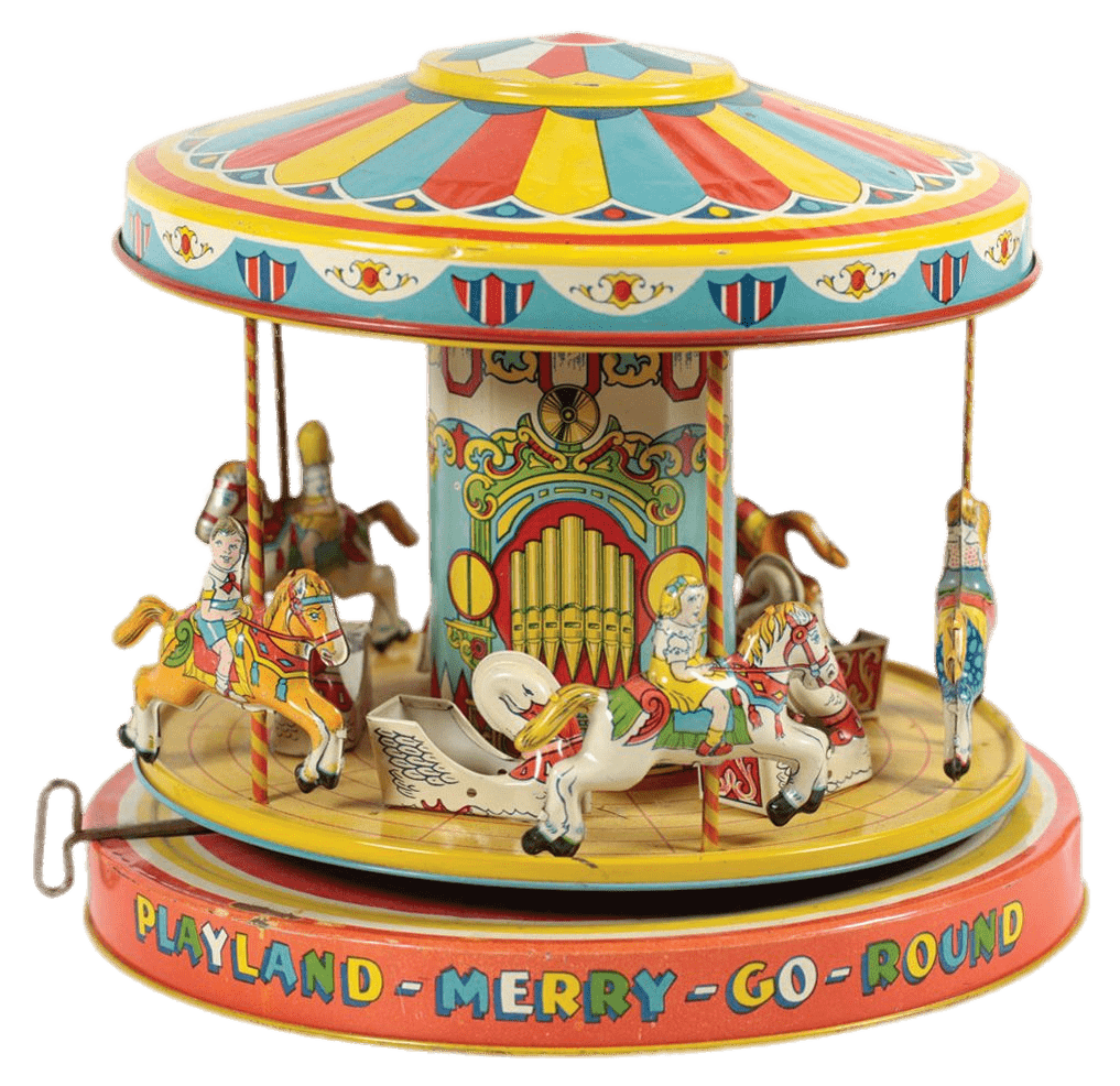 Vintage Toy Merry Go Round transparent PNG.