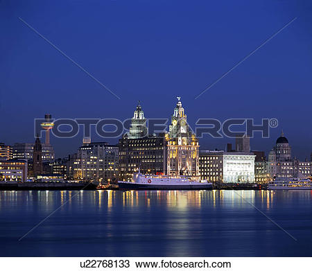 Stock Photo of England, Merseyside, Liverpool. View across the.