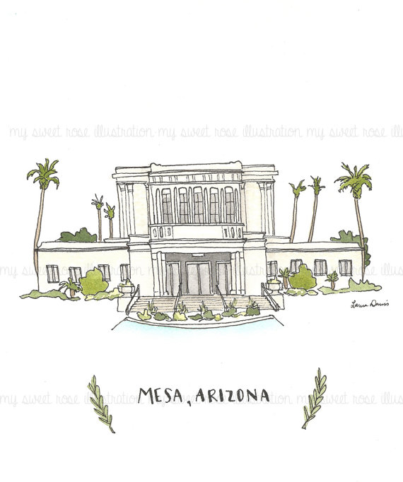 Mesa Arizona Temple Archival Print by by.