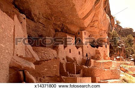 Stock Photography of USA, Colorado, Mesa Verde National Park, rock.