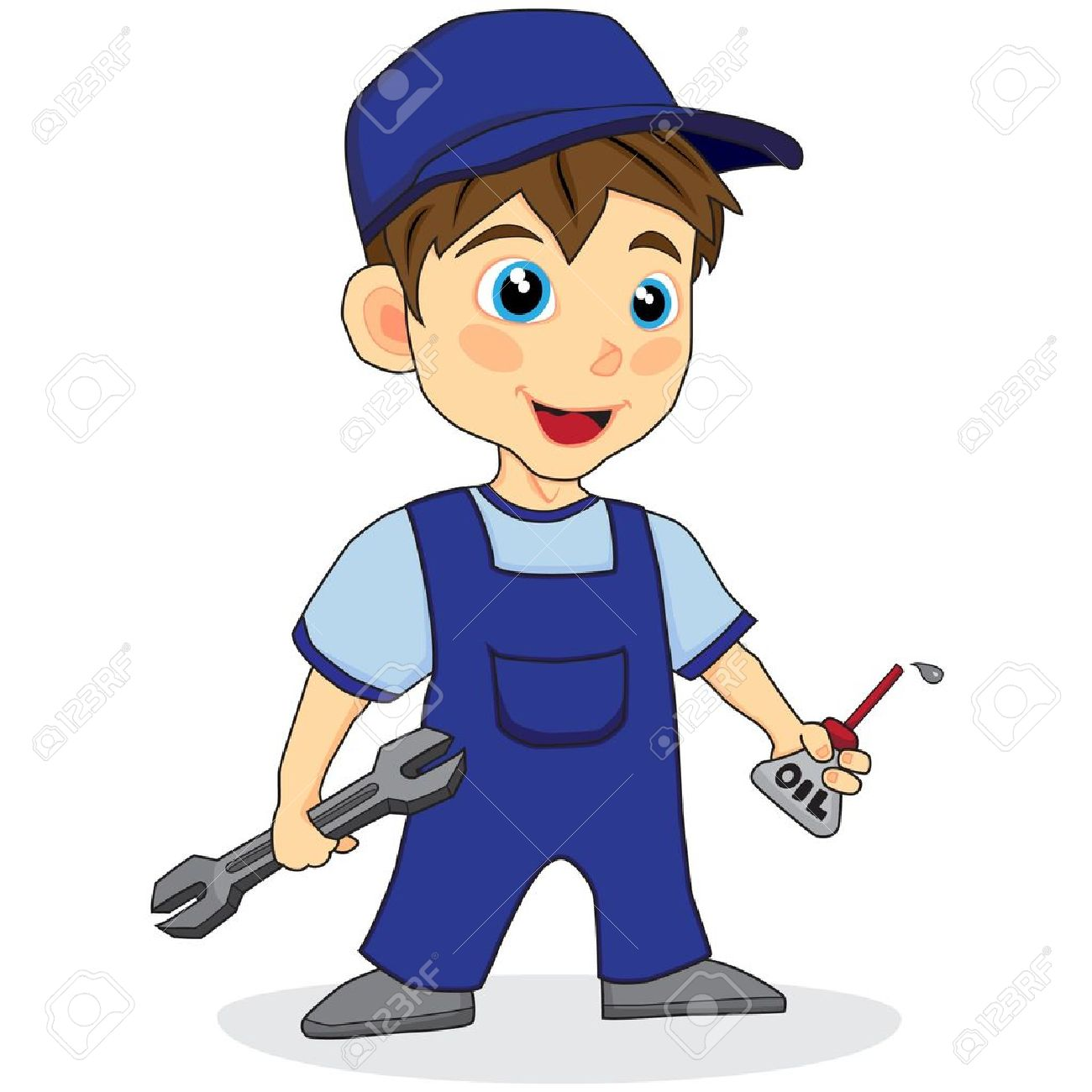 Cute Mechanic Boy Royalty Free Cliparts, Vectors, And Stock.