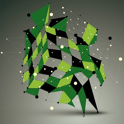 3D mesh vector contemporary technology abstract object.