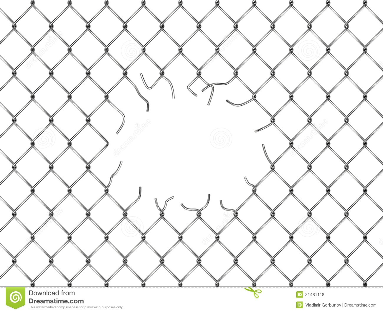 Hole In Fence From Silver Mesh Royalty Free Stock Photos.
