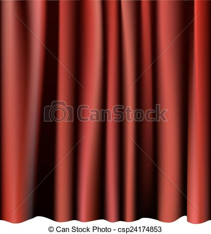 Clipart Vector of Red curtain for the stage. Editable vector.