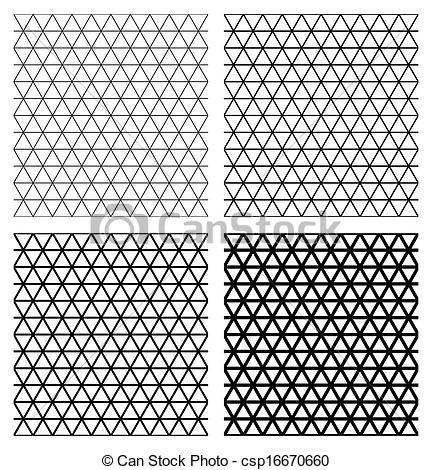 Clip Art Vector of Set of 4 elegant triangular meshes. Vector.
