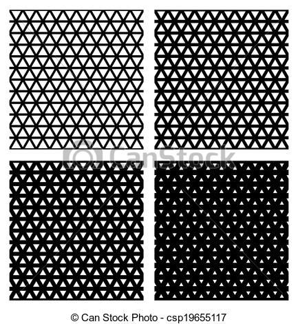 Vector Clip Art of Set of 4 elegant triangular meshes. Vector.