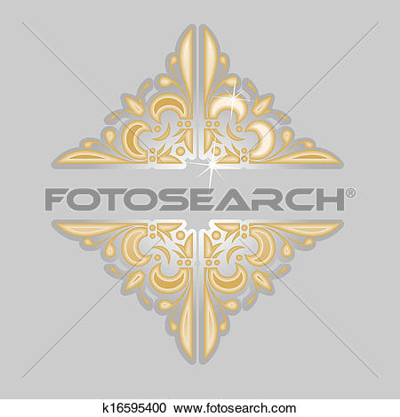 Clipart of Decorative Vintage Silver Gold Ornate Banner. No Meshes.