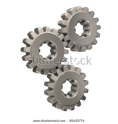 3 Cogs Stock Images, Royalty.