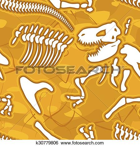 Clip Art of Dinosaur bones seamless background. Pattern of.