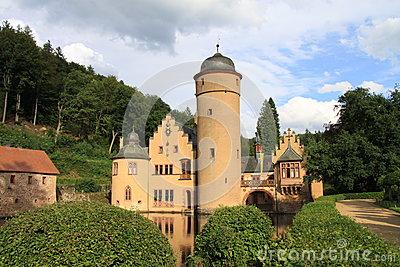 Water Castle Mespelbrunn, Spessart Stock Photo.