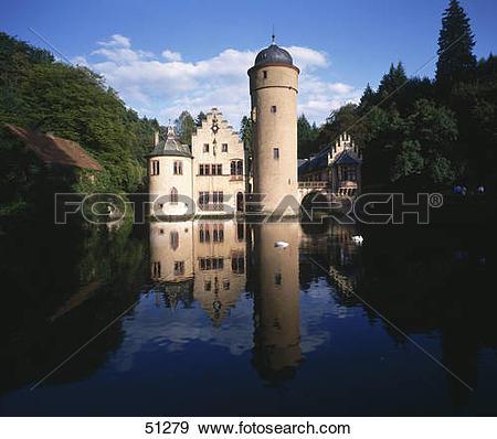 Stock Photograph of Reflection of castle in pond, Mespelbrunn.