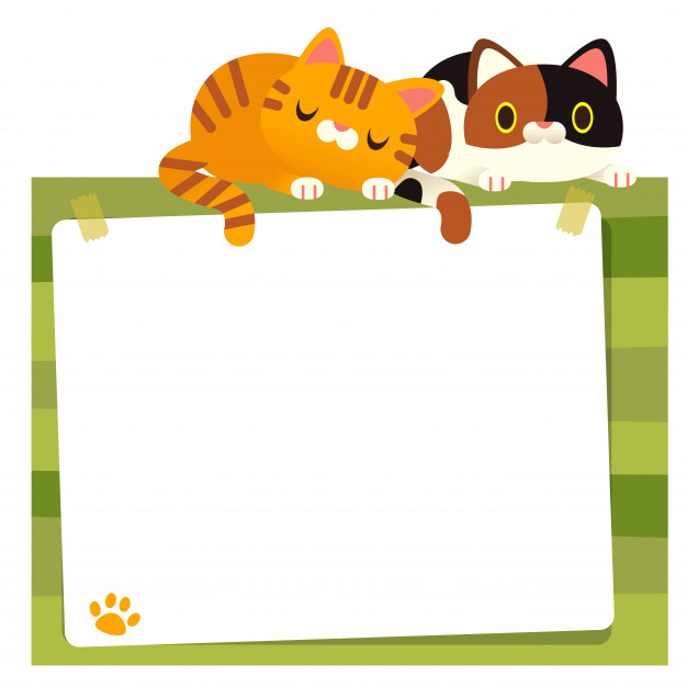 Cute vector cats sleeping on blank message board Vector.