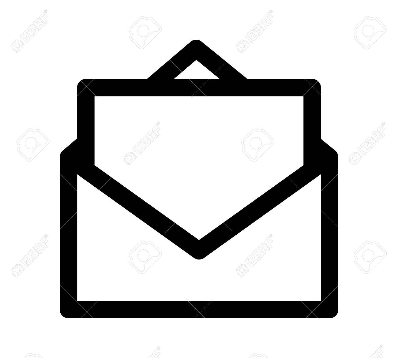 Opened envelope with letter or message vector line art icon for...