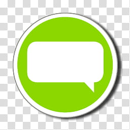 Fresh , green and white message icon transparent background.
