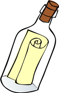 Clipart message in a bottle.