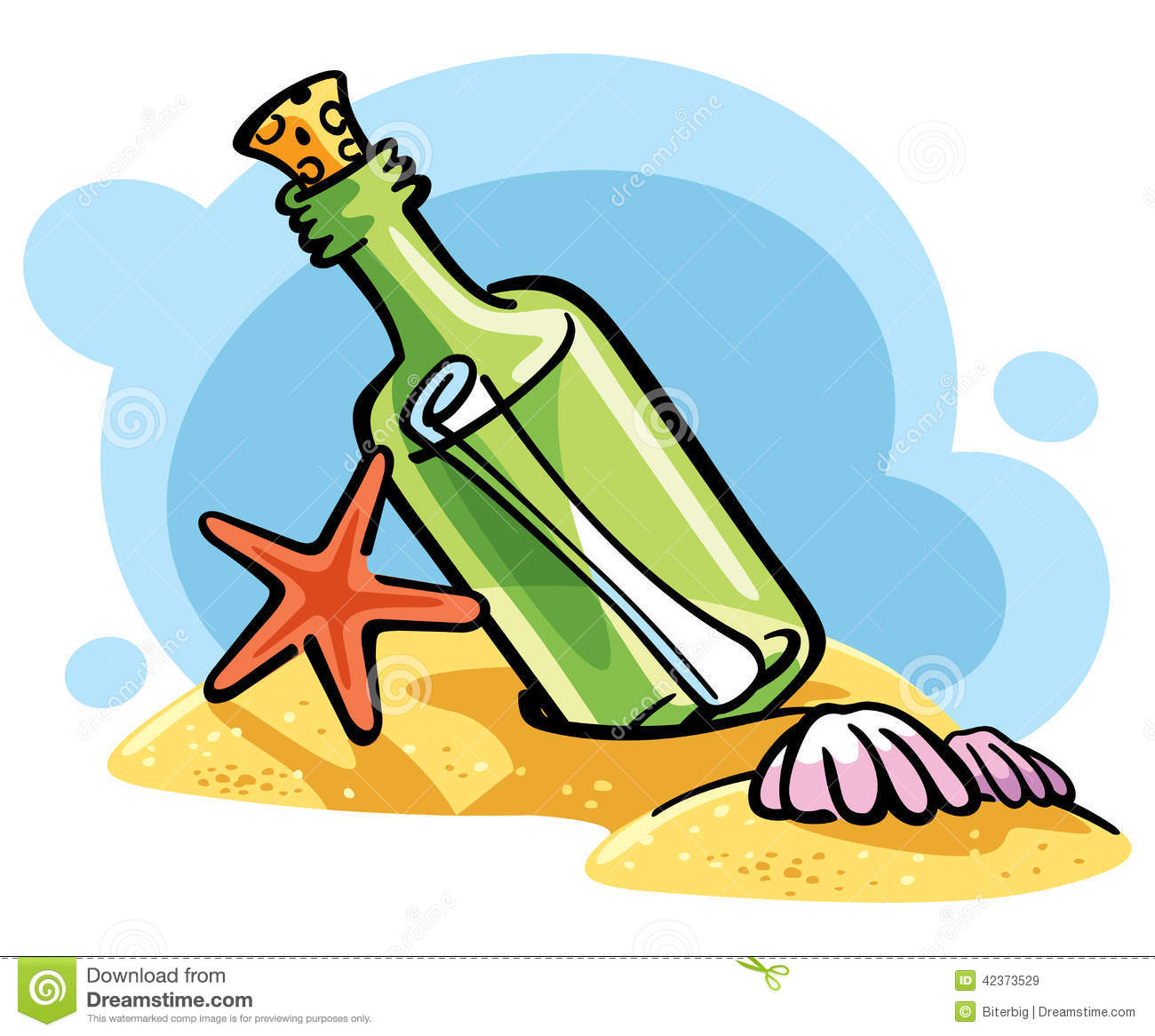 Message In A Bottle For Sos Vector Illustration Stock Vector.