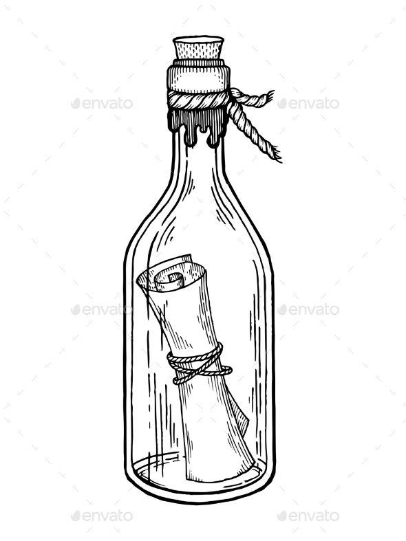 Message in Bottle Engraving Vector Illustration in 2019.