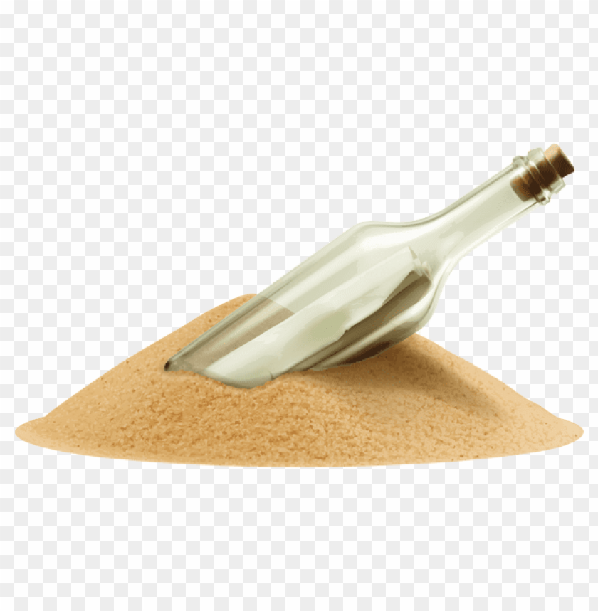Download message in bottle into the sand clipart png photo.
