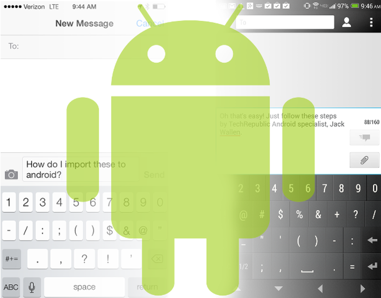 How to migrate SMS messages from an iPhone to an Android device.