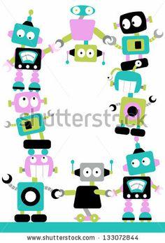 Cute Robots clip art set, 10 designs. INSTANT Download for.