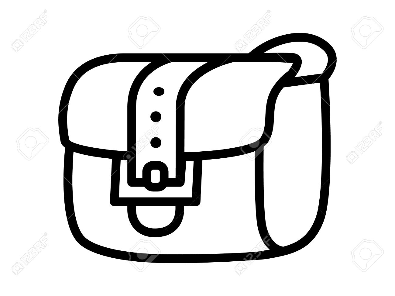 Satchel inventory messenger bag line art icon for apps and websites.