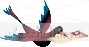 Colored Bird Messenger Clipart.
