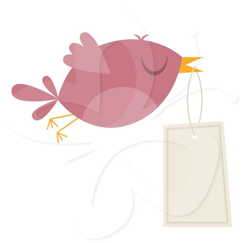 Messenger Bird Clip Art Set.