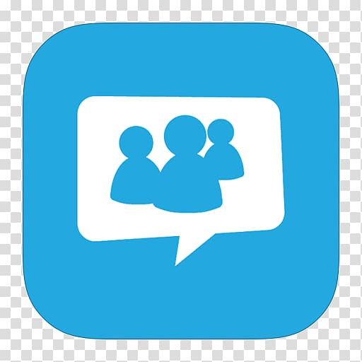 Group chat logo, blue area text symbol, MetroUI Apps Live.