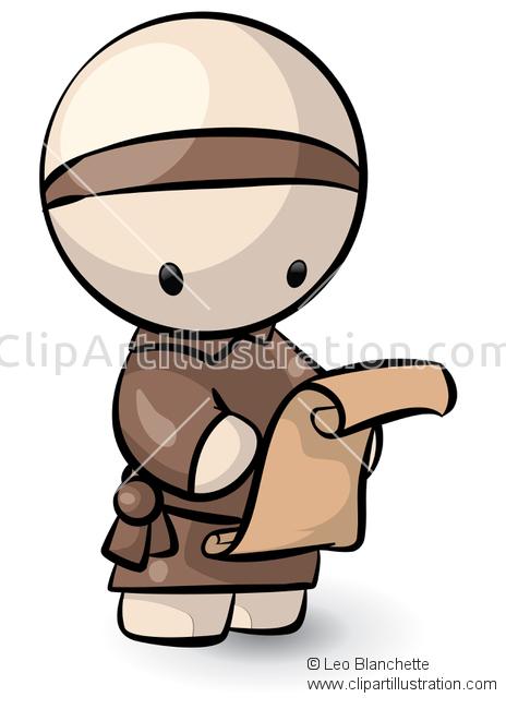 ClipArt Illustration Cute Asian/Oriental Man/Boy Messenger Figure.